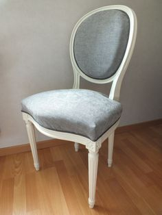Chaise m daillon louis xvi jeu de rayures tapisserie - Chaise blanche et grise ...