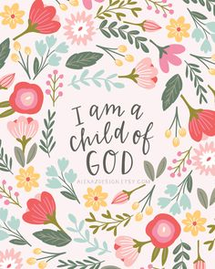 Child of God Floral Nursery Wall Art by alexazdesign on Etsy
