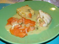Voici le plat principal que j'ai servis à l'occasion du réveillon de Noël. Je me suis inspirée d'une recette de Mamina (la table de mamina) . Comme la sauce était à base de clémentine j'ai opté pour un accompagnement dans les couleurs orangées: des carottes...