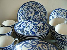 Mexican Pottery - Anfora Blue/White Dishes