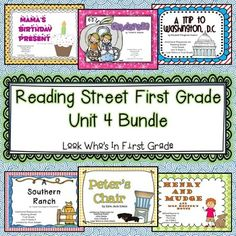 "Save money by buying the bundle!  You will save $3.00 when you buy this bundle of Reading Street First Grade Unit 4 Additional Resources packets rather than buying each weekly packet individually.  This zip file includes all six Reading Street First Grade Additional Resources packets for Unit 4.Included in the file:Week 1 Mamas Birthday Present"" Additional ResourcesWeek 2 Cinderella Additional ResourcesWeek 3 A Trip to Washington, D.C."