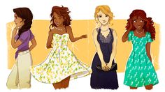 Annabeth Chase, Reyna Arellano, Hazel Levesque, and Piper McLean in the from Rick Riordan's Heroes of Olympus / Percy Jackson fan art drawing by Marion Parajes « Its Reyna RAMIREZ-Arellano, thank you very much *snaps fingers* Percy Jackson Fan Art, Percy Jackson Fandom, Percy Jackson Books, Percy Jackson Clothes, Annabeth Chase, Percy And Annabeth, Solangelo, Percabeth, Magnus Chase