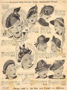 vintage inspiration hats 30s catalogue illustration women style