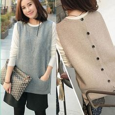 Spring And Autumn 2016 New Korean Version Of   Round Neck Pullover Sweater Vest Waistcoat Vest large Size Women 2 color