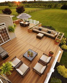 36 Ideas Landscaping Backyard Deck Railings For 2019 Wood Deck Designs, Backyard Patio Designs, Backyard Landscaping, Landscaping Ideas, Big Backyard, Terrace Design, Garden Design, Landscape Design, Decks And Porches