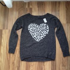 New! Express heart sweater Brand new express heart sweater. Heather gray with white leopard print heart. Blend of acrylic/wool/nylon/mohair. Warm and comfy. Express Sweaters Crew & Scoop Necks