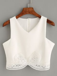 Shop White Lace Trim Crop Tank Top online. SheIn offers White Lace Trim Crop Tank Top & more to fit your fashionable needs.