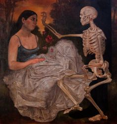 """Jessie Fisher, """"Death and the Maiden,"""" oil on linen (2011). Photographed by Tara Kloeppel    For me, """"Death and The Maiden"""" images are about the mystical union between Amima figures and Shadow figures that represent the collective unconscious.     Interesting how tender this image is...."""