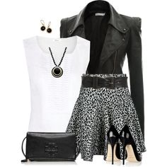 """""""Flare Skirt & Leather Jacket"""" by daiscat on Polyvore"""
