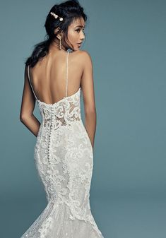 Maggie Sottero Wedding Dresses, Wedding Dresses With Straps, Lace Mermaid Wedding Dress, Dream Wedding Dresses, Lace Wedding, Elegant Wedding, Wedding Gowns, Structured Gown, Wedding Dressses