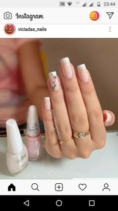On average, the finger nails grow from 3 to millimeters per month. If it is difficult to change their growth rate, however, it is possible to cheat on their appearance and length through false nails. Square Acrylic Nails, Simple Acrylic Nails, Simple Nails, Gel Manicure Designs, Nail Manicure, Nail Art Designs, Elegant Nails, Stylish Nails, Trendy Nails