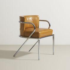 René Herbst; Chromed Steel and Leather Armchair, c1931.