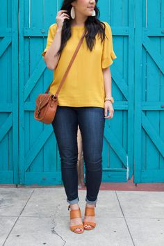 Yellow Flutter Sleeve and Jeans Outfit Details