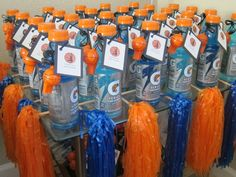 Cute for a kids bday-Basketball Party Favors: sports drink, whistle, pom-poms, and basketball cards (Basketball Decorations) Basketball Party Favors, Sports Party Favors, Basketball Birthday Parties, Sports Birthday, Birthday Party Favors, Birthday Party Decorations, Basketball Cards, Birthday Ideas, Basketball Decorations