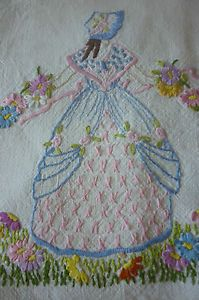 Delicate Vintage Traycloth Tabletopper Beautiful Embroidered Crinoline Ladies | eBay