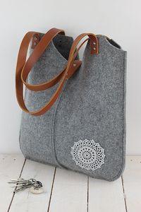 Grey felt tote bag, with crochet applique,gray,  big size, for shopping, spring, summer bag, genuine leather handles, tote bag, tote felt