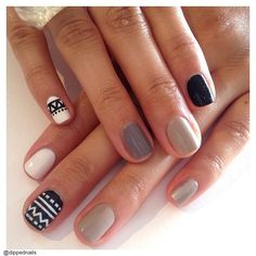 neutrals & aztec nail art