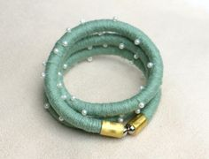 Fabric rope wrap bracelet sea green with beads wrap by MyBeata