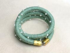 Fabric rope wrap bracelet sea green with beads wrap by MyBeata