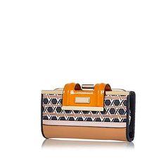Orange geometric print clip top purse £17 #riverisland