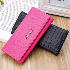 Long PU Leather Credit Card Holder Wallet Purse