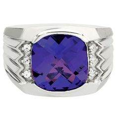 Large Men's Cushion Cut Tanzanite Diamond White Gold Ring Available Exclusively at Gemologica.com