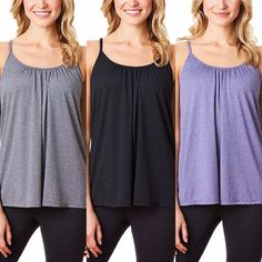 114178148a 32 Degrees Cool Women s Camisole With Built In Bra Grey Medium  fashion   clothing