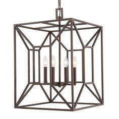 This 4-light foyer fixture features a burnished bronze finish that will complement many transitional decors. The clean lines of the box shaped steel frame surrounding the bulb cluster adds interest an
