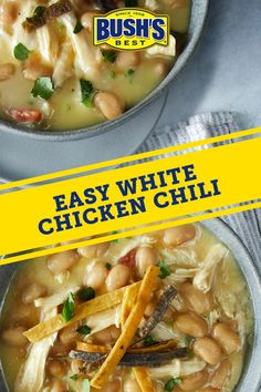 Staying home can be extra tasty with this creamy white chicken chili. Try it for a quick and easy dinner that will leave plenty of leftovers for WFH lunches. Pro tip: Send the recipe to a friend and catch up while sharing a meal over a video call. Chili Recipes, Slow Cooker Recipes, Mexican Food Recipes, Soup Recipes, Chicken Recipes, Cooking Recipes, Healthy Recipes, Seafood Recipes, Recipies