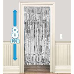 Silver Foil Doorway Curtain 8ft backdrop for cake smash