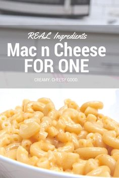 Kid-approved single serve macaroni and cheese! Homemade with real ingredients! Creamy, cheesy and quick microwaved instructions! Single Serve Mac And Cheese Recipe, Quick Mac And Cheese, Macaroni And Cheese Recipe For One, Macaroni Recipes, Mac Cheese Recipes, Pasta Recipes, Mac And Cheese Microwave, Homemade Mac And Cheese Recipe Easy, Homemade Pasta
