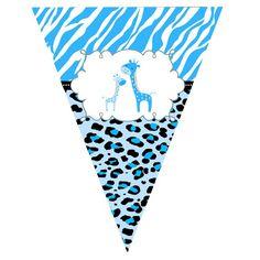 Party Flag Banner - Jungle Giraffe Zebra Leopard Boy Birthday Printable Personalized Party Decoratio