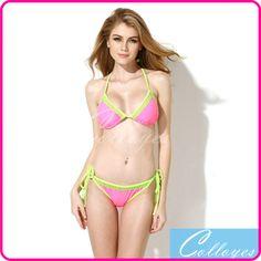 Colloyes 2015 Sexy Bikinis Set  Bathing suit Pink + Double Green Lace Trim Triangle Top with Classic Cut Bottom Women Swimwear - http://www.aliexpress.com/item/Colloyes-2015-Sexy-Bikinis-Set-Bathing-suit-Pink-Double-Green-Lace-Trim-Triangle-Top-with-Classic-Cut-Bottom-Women-Swimwear/32239055118.html