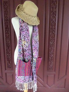 Pocket Scarf Hmong Embroidery, Fringe, A Shawl, A Wrap, Boho Accessory