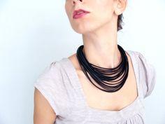 Black vegan leather Necklace - faux leather stripes Choker - chunky bib necklace - Statement neckpiece