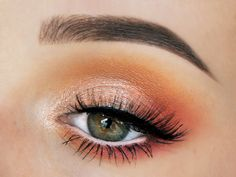 Felt like doing a sunset inspired look! Used: • Makeup Geek eyeshadows Chickadee (crease), In The Spotlight (lid), Poppy (outer corner), Simply Marlena (under the eye - outer corner), and Shimma Shimma (inner corner) • Rimoré Cutie Pie lashes • L'Oréal Mega Volume Miss Baby Roll mascara • NYX Faux White eyepencil Seashell • LOOkX eyeshadow Espresso (brows) • Anastasia Beverly Hills Clear Brow Gel