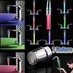 [Wish] Soledi Led 7 Colors Water Faucet Light Universal Adapter Kitchen Bathroom Accessories Changing Waterfall Glow Shower Stream Tap China Lights, T Lights, Kitchen Taps, Kitchen And Bath, Tap Head, Glass Suppliers, Shower Taps, Water Faucet, Bathroom Accessories Sets