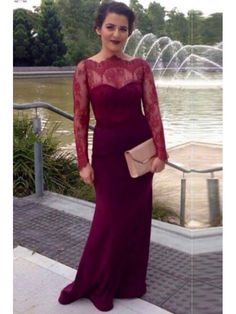 BURGUNDY MERMAID LONG SLEEVES BUTTON BACK 2017 PROM DRESS WITH LACE