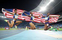 RIO DE JANEIRO, BRAZIL - AUGUST 17:  (L-R) Bronze medalist Kristi Castlin, gold…