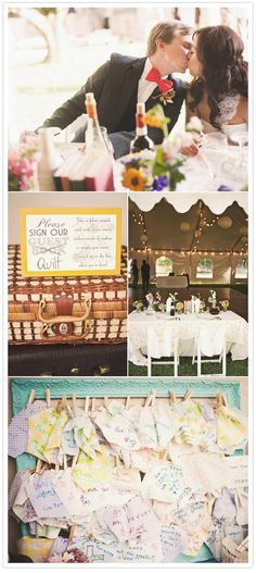 Guests sign quilt pieces to be sewn together later instead of a guest book. LOVE this idea.