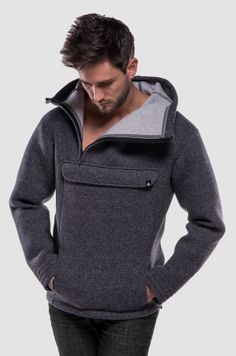 Anorak style never goes out of fashion. This piece is classic and modern, heavy and light at the same time. Heavy And Light, Going Out, Concrete, January, Men Sweater, Hoodies, Fabric, Sweaters, Jackets