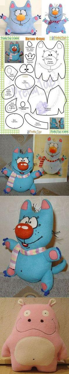 Котик Флис — мягкая игрушка своими руками, выкройка