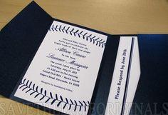 Pocketfold invitation with a design that mimics baseball stitching. #baseball #wedding