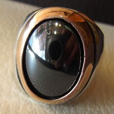 hematite natural stone sterling silver 925 man ring 18 mm 13 mm cabochon semi precious in bronze frame jewelry all sizes nice gift Risk free Quality guarantee policy : If you are not satisfied with your item for any reason simply send it to us and you will get a replacement or full