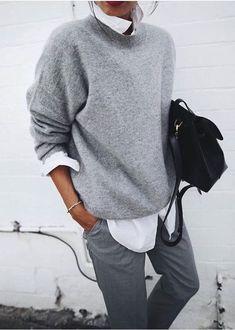 outfit looks style - outfit looks . outfit looks ideas . outfit looks 2019 . outfit looks summer . outfit looks style Looks Street Style, Looks Style, Classy Street Style, Mode Outfits, Casual Outfits, Dress Casual, Classic Outfits, Classic Fashion, Grey Fashion