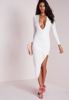 Long Sleeve Plunge Asymmetric Hem Bodycon Dress White