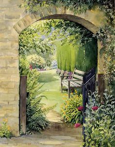 Garden Gate and Bench - watercolour by Dorothy Pavey