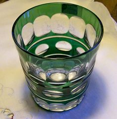 "35.00 Val St Lambert ""Blarney"" Glass Tumbler Green Cut to Clear 3/38""H 1950-62"