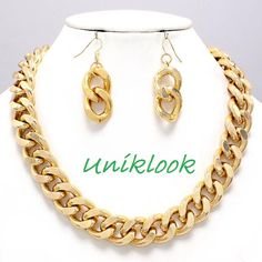 POPULAR Chunky Gold Curb Chain Link Necklace Earrings Set TRENDY Fashion Jewelry $23.99