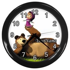 Masha and The Bear Personalized Wall Clock Great by KusCase Wall Clock Gift, Bed In Living Room, Masha And The Bear, Birthday Gifts For Girls, Home Wedding, House Warming, Christmas Holidays, Messages, Clocks
